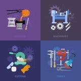 Metaworking icons set. Stock Images