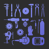 Metaworking icons set. Vector metalworking trendy flat icons big set Royalty Free Stock Images