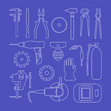 Metaworking linear icons. stock illustration