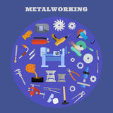 Metaworking poster template. Vector metalworking poster, concept. Metalworking big icon set Royalty Free Stock Image