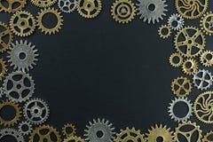 metelic齿轮抽象背景在黑背景的 图库摄影