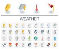 Meteo и значки погоды равновеликие вектор 3d Стоковое Изображение