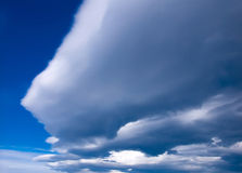 Meteo clouds for storm. Clouds with the sign of changing weather. In image you can see some stratocumulus with secondary type of lenticularis and undulatus Stock Photography