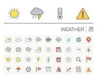 Meteo och symboler för väderfärgvektor stock illustrationer
