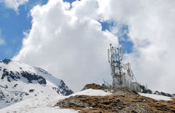 Meteo station. Alpine meteorological weather station in Fagaras mountains, Romania Royalty Free Stock Images