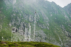 Meteo station in Carpathians. Weather station near Balea Lake next to Transfagarasan Road in southern section of Carpathian Mountains in Romania Royalty Free Stock Photos