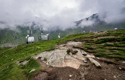 Meteo station in Carpathians. Weather station near Balea Lake next to Transfagarasan Road in southern section of Carpathian Mountains in Romania Royalty Free Stock Images