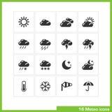 Meteo symbolsuppsättning stock illustrationer