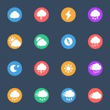 Meteo vector flat icons on the color substrate set of 16. On dark blue background Vector Illustration