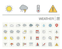 Meteo and weather color vector icons Royalty Free Stock Images