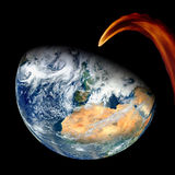 Meteor Asteroid Comet Earth. Impact collision. Elements of this image furnished by NASA Royalty Free Stock Images