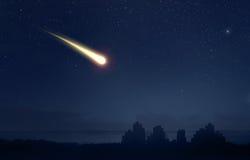 Meteor or Comet over the city. Meteor Comet over the nigt sky city landscape stock photos