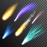 Meteor And Comet Transparent Background. Falling multicolored meteor and comet of different size on transparent black and grey plaid background flat vector Royalty Free Stock Photos