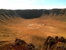 Meteor Crater. Fantastic view of a meteor crate in Arizona stock photography