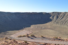 Meteor Crater Arizona. Meteor Crater in Arizona with walkway and looking platform Royalty Free Stock Photo