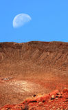 Meteor Crater and Moon Royalty Free Stock Photos