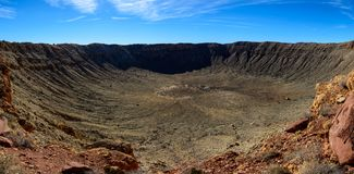 Meteor Crater panorama. Meteor Crater panoramic view, in Winslow, Arizona, USA Royalty Free Stock Images