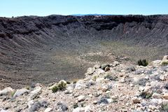 Meteor Crater. Is the worlds best preserved meteorite impact site on earth located in Northern Arizona stock image