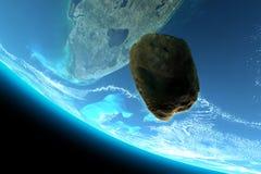 Meteor, der in Richtung zur Erde stolpert Stockfoto