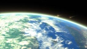 Meteor entering earth atmosphere