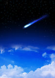 Meteor enters the Earth`s atmosphere Royalty Free Stock Images