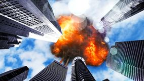 Meteor explodes in the sky over skyscrapers. 3D Rendering royalty free illustration