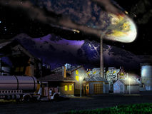 Meteor falling. Exterior night. An enormous meteor crosses the sky, towards the Earth, over a little industrial town close to mountains stock illustration