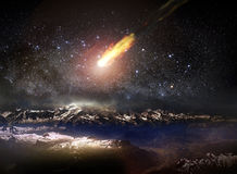 Meteor falling. Over the Alps under a starry sky