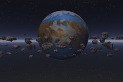 Meteor field. Planet with meteor field in deep space Royalty Free Illustration