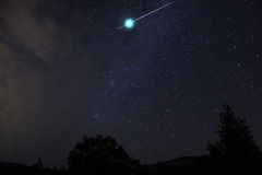 Meteor fireball explodes in a flash, Oregon, Cascade Siskiyou Na. Meteor fireball explodes in a flash royalty free stock image