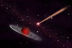 Meteor and gas planet. In the space area background Royalty Free Stock Photography