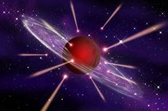Meteor go to the Big red gas planet Royalty Free Stock Images
