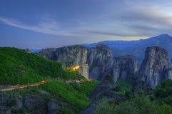 Meteor, Grecja - wiosna obrazek, błękitna godzina Zdjęcia Stock