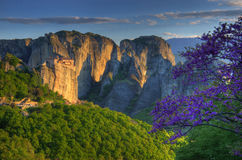Meteor, Grecja - wiosna obrazek, monaster Roussanou Fotografia Royalty Free
