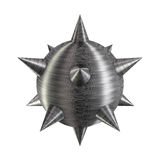 Meteor hammer brushed texture metal weapon. Isolated solid meteor hammer or bomb mine with fine metallic hairlines and sharp points. PNG with transparent Stock Images