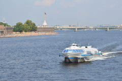 Meteor, hydrofoil boat in St. Petersburg. Royalty Free Stock Photography