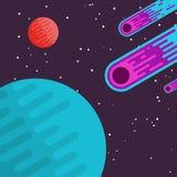 Meteor i utrymmebakgrund Arkivfoto
