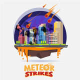 Meteor impact the city. diaster concept -. Illustration Stock Photos
