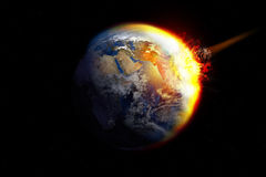 Meteor impact. Meteor crashing into the Earth Royalty Free Stock Images