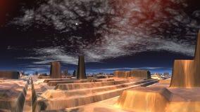 Meteor nad miastem obcy ilustracja wektor