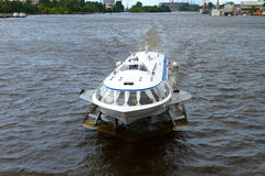 Meteor. Passenger speedboat hydrofoil Meteor is in the city center on Neva river. St.Petersburg, Russia Royalty Free Stock Photography
