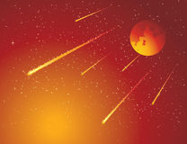 Meteor Rain. Meteor shower, and red space Stock Photos