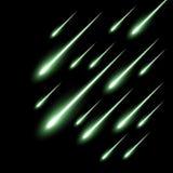Meteor rain background, green color royalty free illustration