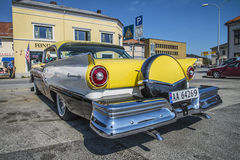 1957 Meteor Rideau 500 2-Door Hardtop (Ford of Canada). Image is shot at the fish market in Halden, Norway one day in April 2014 Stock Photography