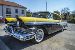 1957 Meteor Rideau 500 2-Door Hardtop (Ford of Canada). Image is shot at the fish market in Halden, Norway one day in April 2014 Royalty Free Stock Photos