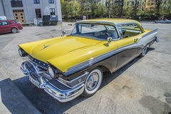 1957 Meteor Rideau 500 2-Door Hardtop (Ford of Canada). Image is shot at the fish market in Halden, Norway one day in April 2014 Stock Images