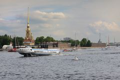 Meteor ship on the Neva River St. Petersburg Russia Stock Photography