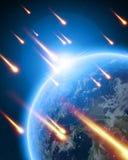 Meteor shower. On a dark blue background Stock Image