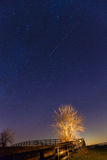 Meteor shower. View of Geminid meteor shower on December 14, 2012 stock image