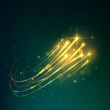 Meteor shower icon of shooting stars in night sky. Meteor shower with yellow shooting stars burning in the night sky with bright trails of afterglow. Astronomy Royalty Free Stock Photo